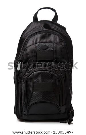 Black backpack on whitebackground - stock photo