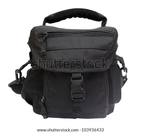 Black bag for the camera isolated on white background. - stock photo
