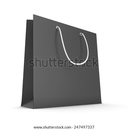 Black bag isolated on white background. 3d render image. - stock photo
