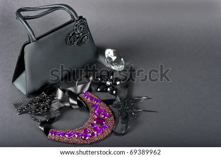 black bag with accessories - stock photo
