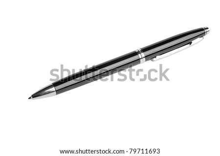 black ballpoint pen isolated on white background - stock photo