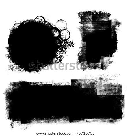 black banner - stock photo