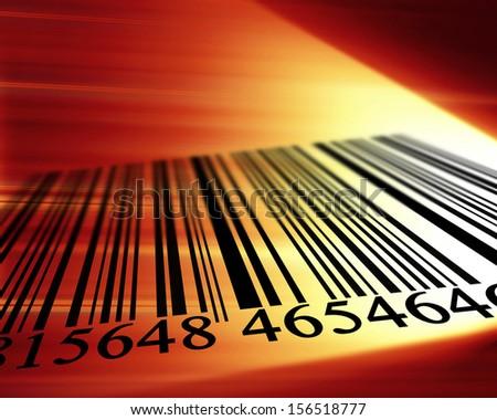 black bar code on a dark red background - stock photo