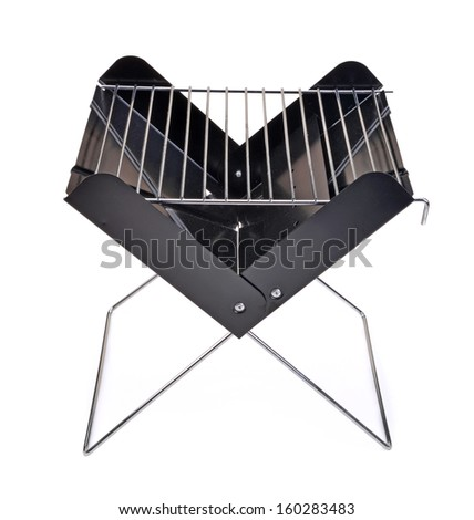 Black barbecue appliance isolated on white background - stock photo