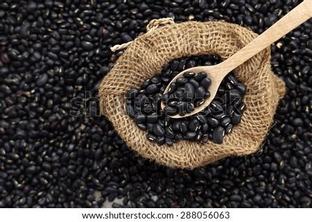 black bean in the sack               - stock photo