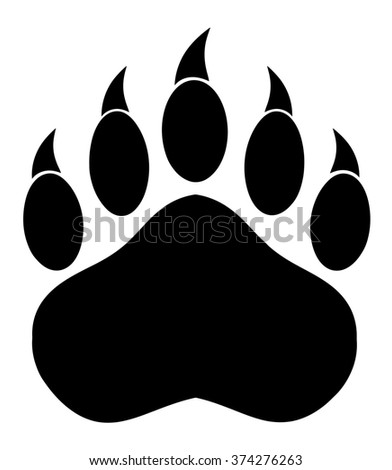 Black Bear Paw With Claws. Raster Illustration Isolated On White - stock photo