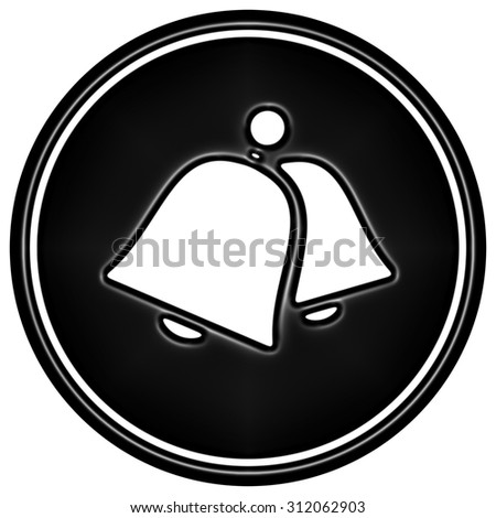 Black bell icon on white background - stock photo