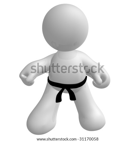 Black belt fighter icon pose - stock photo