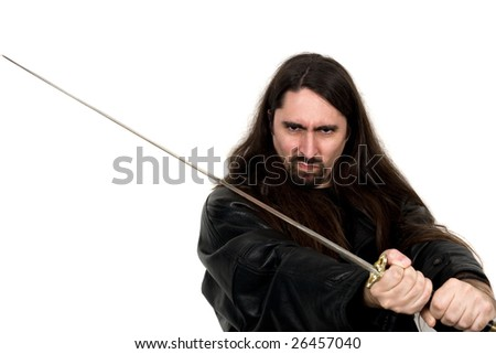 black belt holds up katana in self defense - stock photo