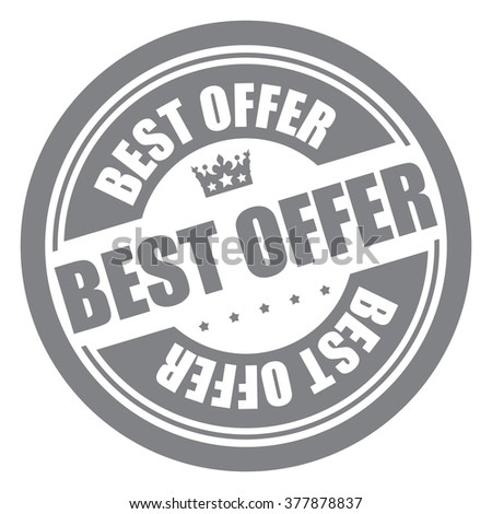 Black Best Offer Campaign Promotion, Product Label, Infographics Flat Icon, Sign, Sticker Isolated on White Background  - stock photo