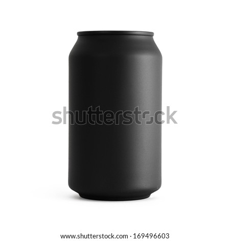 Black beverage can isolated on white background, front view. - stock photo