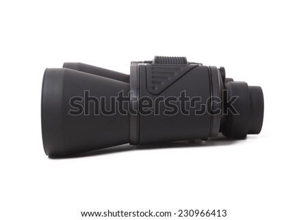 black binocular isolate on white background - stock photo