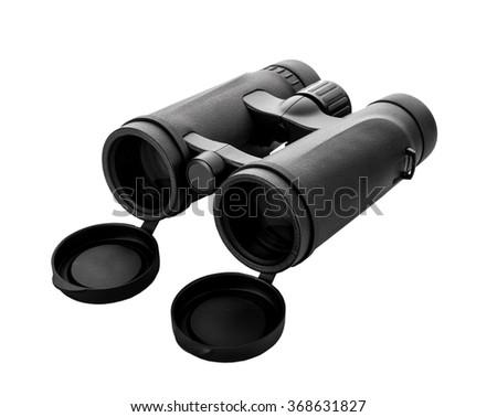 black binoculars isolated on white  - stock photo
