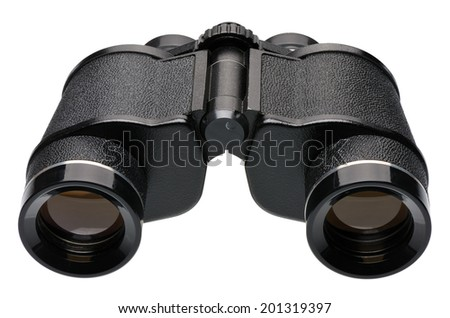 Black binoculars, side view, isolated on white background  - stock photo