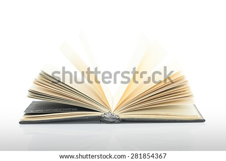 Black blank book,Open black book with shadow on white background - stock photo