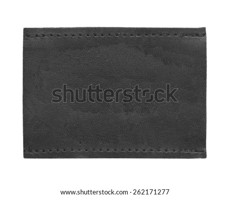 black blank leather jeans label isolated on white  - stock photo