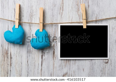 Black blank phote frame - stock photo