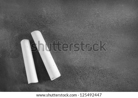 black board and chalk - stock photo