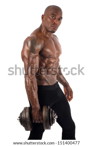 Black bodybuilder training with dumbbells. Strong man with perfect abs, shoulders,biceps, triceps and chest. Isolated on white background - stock photo