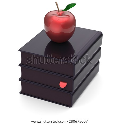 Black books red apple textbooks stack index education studying reading learning school college knowledge literature idea icon concept. 3d render isolated on white - stock photo