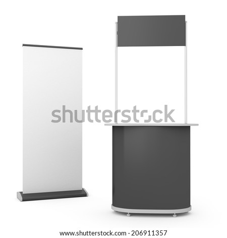 black booth or kiosk with rollup isolated on white. 3d render - stock photo
