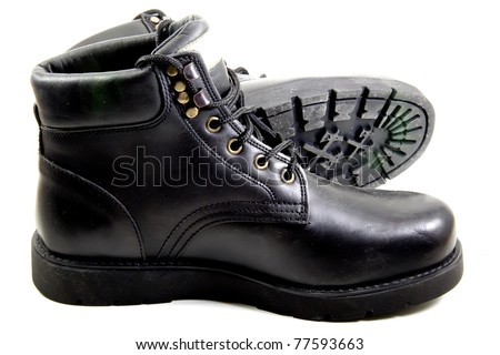 black boots for high mountain - stock photo
