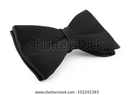 Black bow-tie  on a white background - stock photo