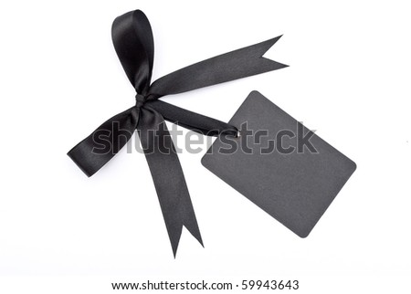 Black bow with label - stock photo