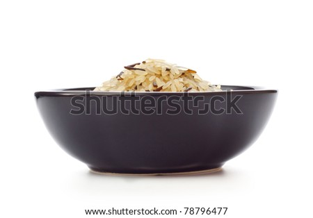black bowl with rice isolated on white - stock photo