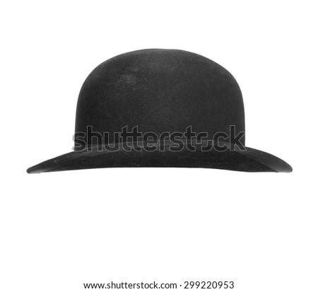 Black bowler hat isolated on white background. - stock photo