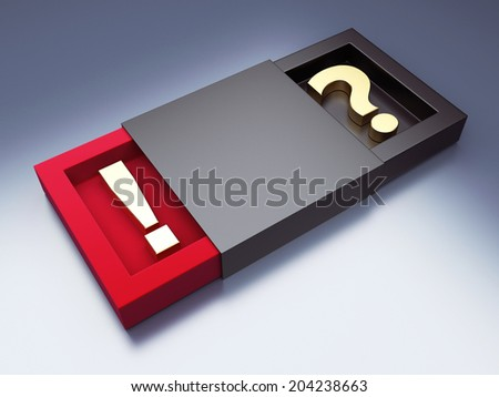 Black box with question and exclamation mark. 3d render illustration - stock photo
