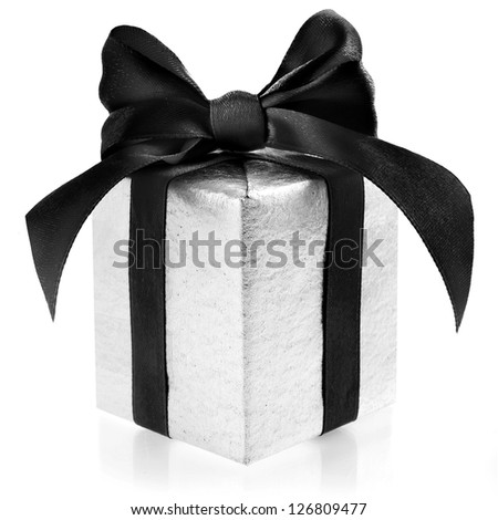 Black box wrapping ribbon bow isolated on white - stock photo