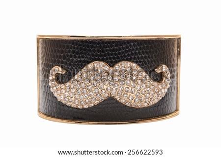 black bracelet with a mustache on a white background - stock photo