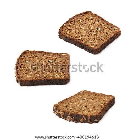 Black bread slice isolated - stock photo
