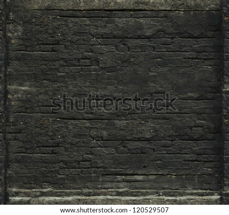 black brick wall seamless background - stock photo