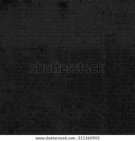 black brick wall texture background - stock photo
