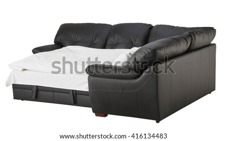 Black brown leather corner couch bed isolated on white include clipping path - stock photo