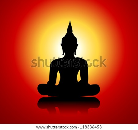 Black buddha silhouette against red background - stock photo