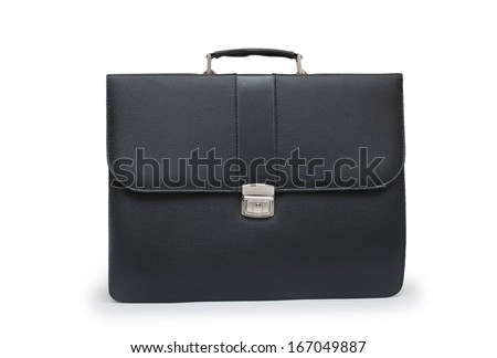 Black business briefcase (front view) on white background - stock photo