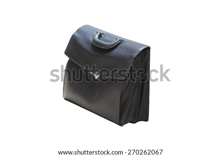 Black business briefcase on white background and clipping path - stock photo