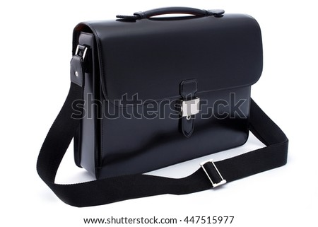 Black business briefcase  with shadow on white background and clipping path - stock photo