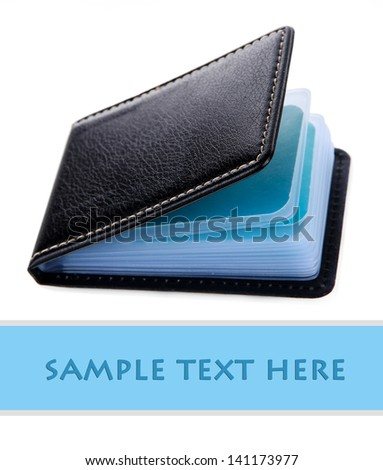 Black business card holder isolated on white - stock photo