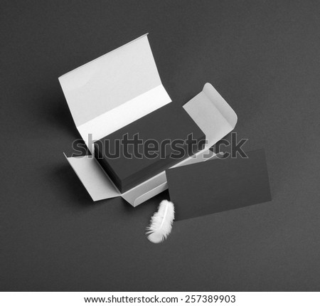 Black business cards in the silvery box - stock photo