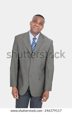 Black businessman posing - stock photo
