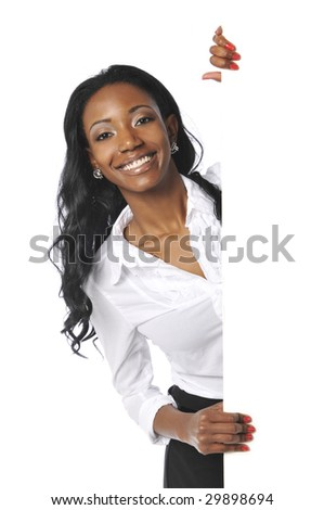 Black businesswoman holding a black sign isolated on a white background - stock photo