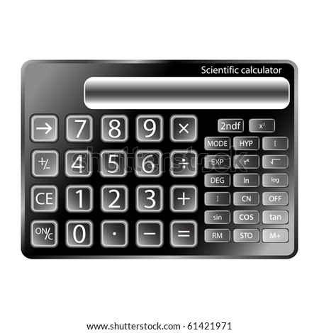 black calculator against white background, abstract art illustration; for vector format please visit my gallery - stock photo