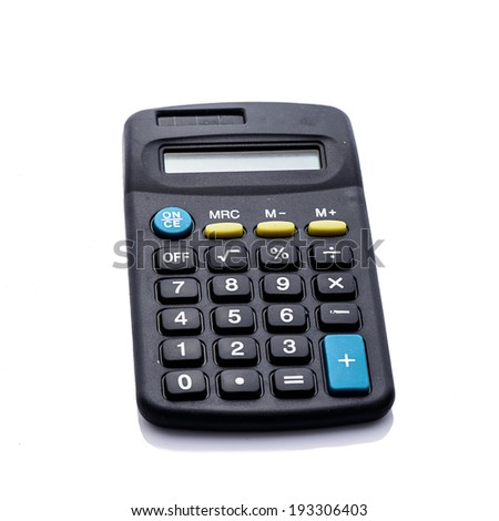 Black calculator isolated on white. - stock photo