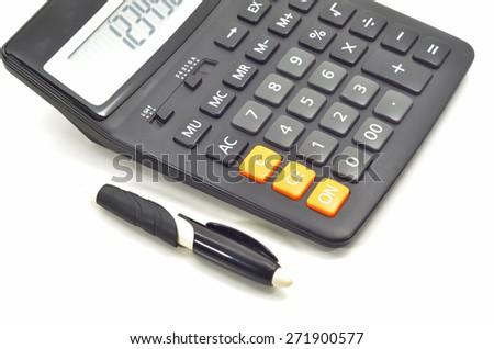 Black calculator isolated on white background  - stock photo