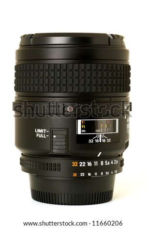 Black camera lens isolated in white background - stock photo