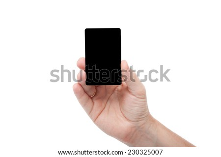 black card in a human hand isolated on white background - stock photo